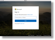 Microsoft email login screen