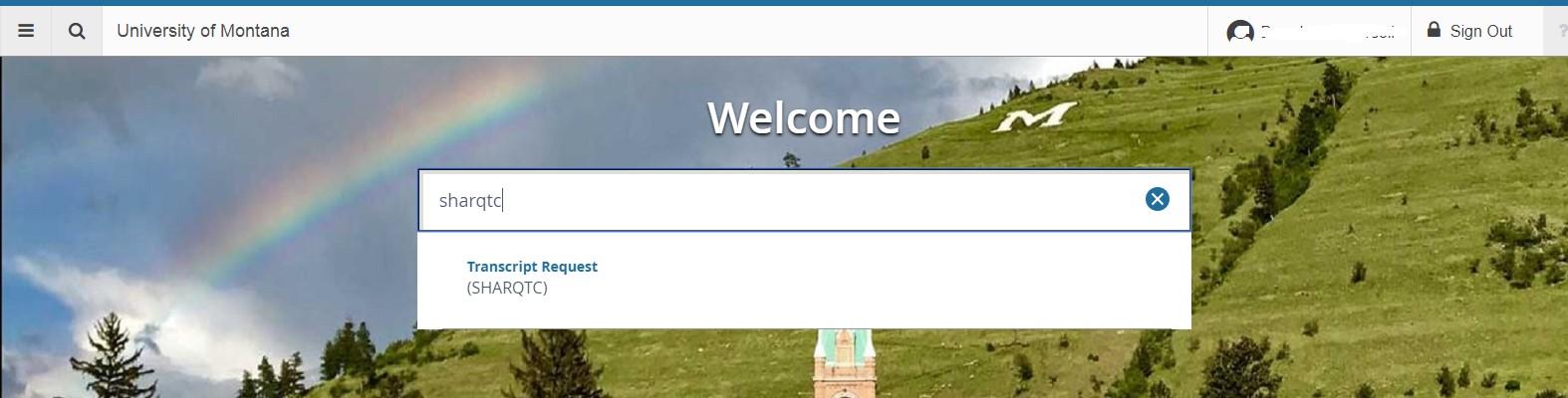 View of SHARQTC search window