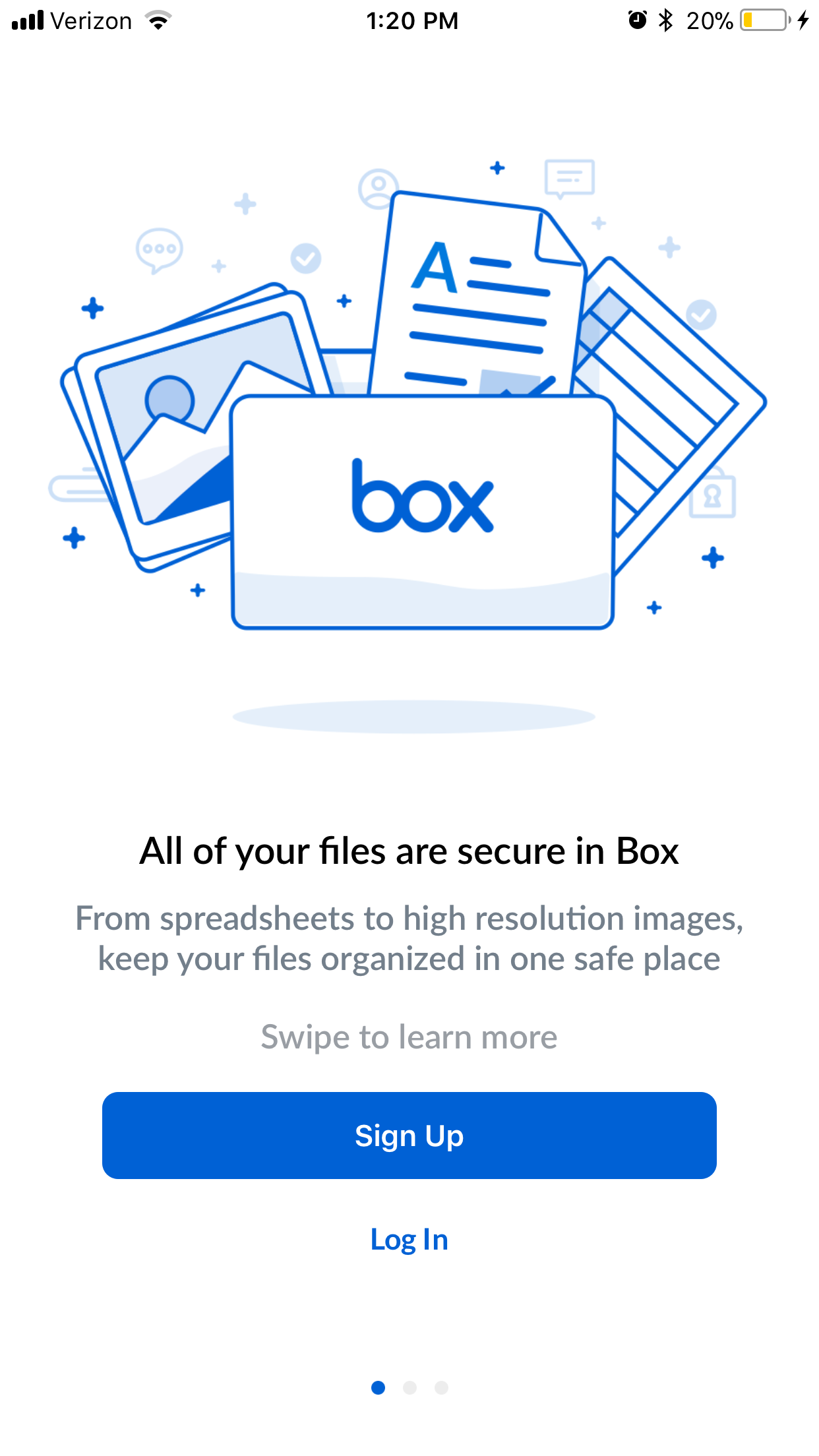 Screenshot of Box app with options to Sign Up or Log In